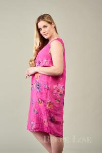 Buy Pink Printed Noemi Linen Dress Online